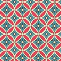 Red and Blue Floral Tile Print Italian Paper ~ Carta Varese Italy