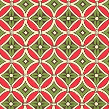 Red and Green Floral Tile Print Italian Paper ~ Carta Varese Italy