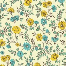 Yellow and Aqua Petite Calico Floral Print Paper ~ Carta Varese Italy
