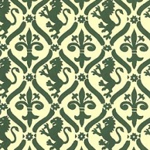 Green Griffin and Lily Print Italian Paper ~ Carta Varese Italy