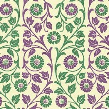 Purple and Green Flower and Vine Print Italian Paper ~ Carta Varese Italy