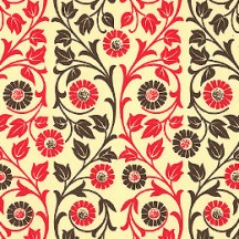Red and Black Flower and Vine Print Italian Paper ~ Carta Varese Italy
