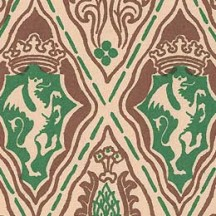 Green and Brown Renaissance Griffin Print Italian Paper ~ Carta Varese Italy