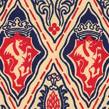 Red and Blue Renaissance Griffin Print Italian Paper ~ Carta Varese Italy