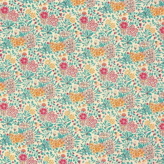 Petite Aqua Mixed Meadow Flowers Paper ~ Carta Varese Italy