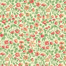 Green and Peach Petite Calico Floral Print Paper ~ Carta Varese Italy