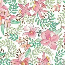 Pink Orchid Floral Print Italian Paper ~ Carta Varese Italy