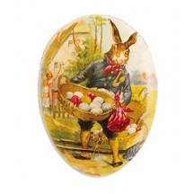 "6"" Papier Mache Traveling Bunny Easter Egg Container ~ Germany"