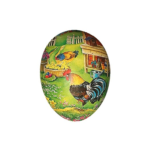 "6"" Papier Mache Rooster Potting Shed Easter Egg Container ~ Germany"