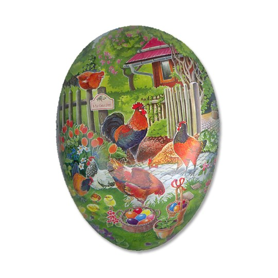"3-1/2"" Papier Mache Rooster Garden Egg Container ~ Germany"