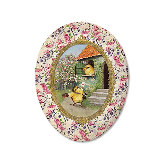 "3-1/2"" Papier Mache Chick Mail Delivery Vintage Easter Container ~ Germany ~ Ivory Chintz"