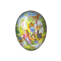 "4-1/2"" Papier Mache Bunny Art Class Easter Egg Container ~ Germany"