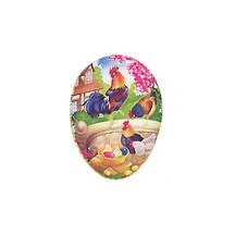 "3 1/2"" Roosters on Wall Papier Mache Easter Egg Container ~ Germany"