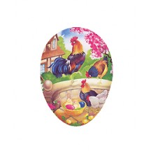 "4 1/2"" Roosters on Wall Papier Mache Easter Egg Container ~ Germany"