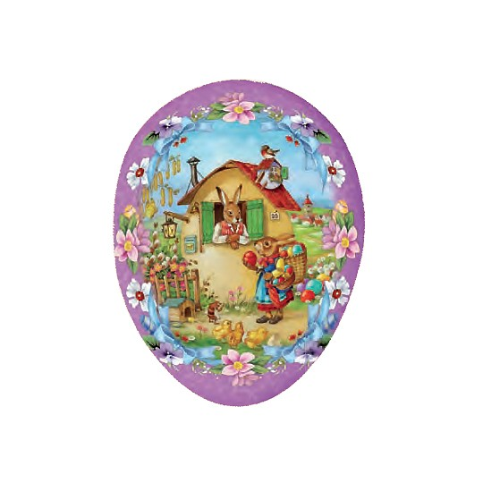 "3 1/2'"" Bunny Egg House with Purple Papier Mache Easter Egg Container ~ Germany"