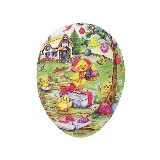 "3 1/2"" Chicks Decorating Papier Mache Easter Egg Container ~ Germany"