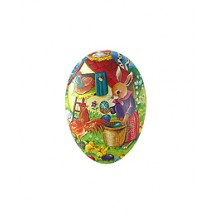 "3-1/2"" Papier Mache Bunny with Eggs and Rooster Egg Container ~ Germany"