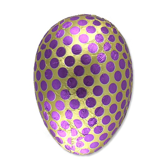 "4-1/2"" Purple and Gold Foiled Polka Dot Papier Mache Egg Container ~ Germany"