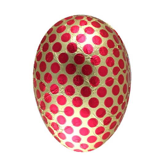 "4-1/2"" Pink and Gold Foiled Polka Dot Papier Mache Egg Container ~ Germany"