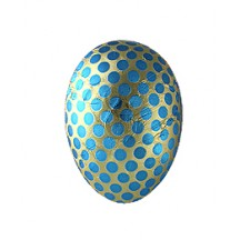 "4-1/2"" Blue and Gold Foiled Polka Dot Papier Mache Egg Container ~ Germany"