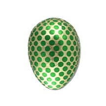 "4-1/2"" Green and Gold Foiled Polka Dot Papier Mache Egg Container ~ Germany"