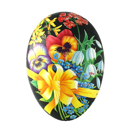 "4-1/2"" Black Pansy Bouquet with Bow Papier Mache Easter Egg Container ~ Germany"