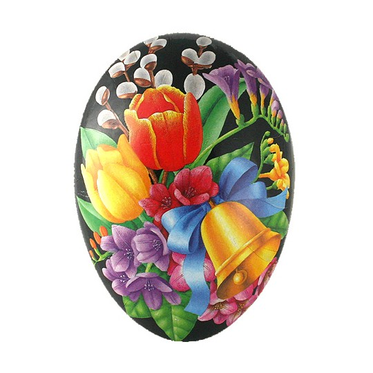 "4-1/2"" Black Flower Bouquet with Bell Papier Mache Easter Egg Container ~ Germany"