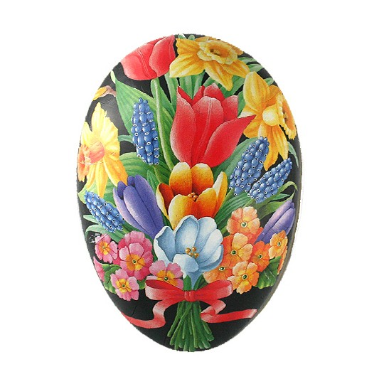 "3-1/2"" Black Springtime Bouquet with Bow Papier Mache Easter Egg Container ~ Germany"