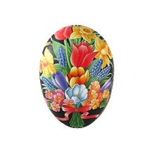 "4-1/2"" Black Springtime Bouquet with Bow Papier Mache Easter Egg Container ~ Germany"