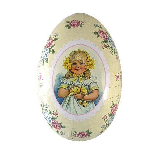 "6"" Ivory Girl with Chicks Papier Mache Easter Egg Container ~ Sweden"