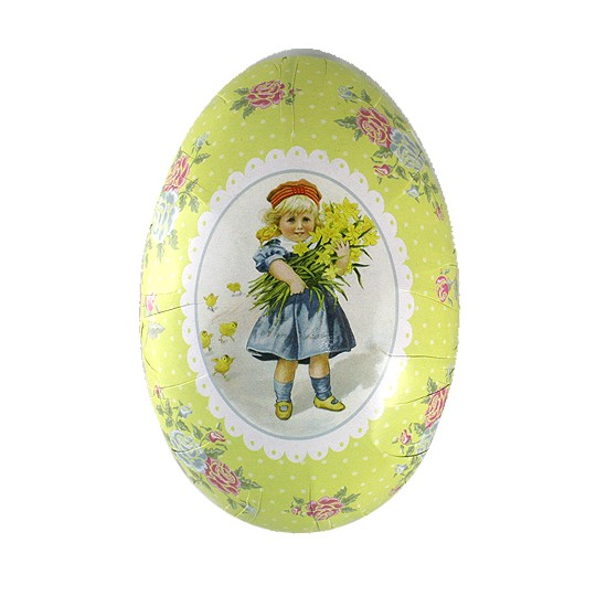 "6"" Green Children with Chicks Papier Mache Easter Egg Container ~ Sweden"