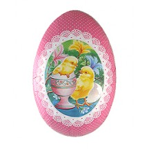 "6"" Pink Chicks Papier Mache Easter Egg Container ~ Sweden"