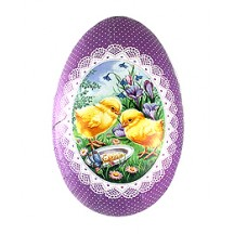 "6"" Purple Chicks Papier Mache Easter Egg Container ~ Sweden"