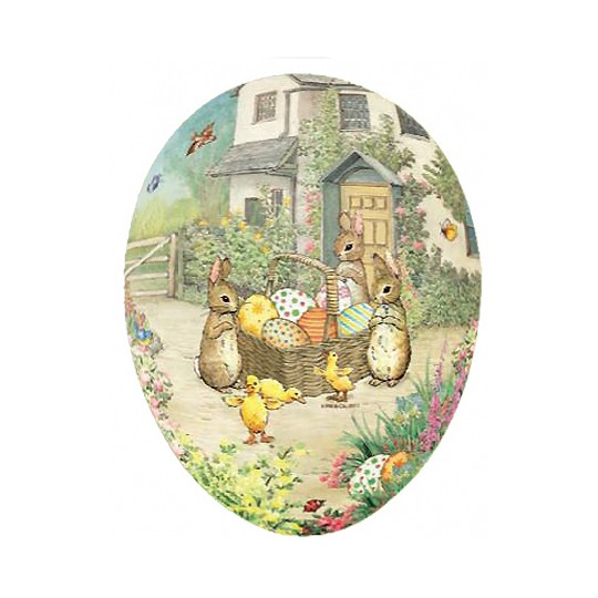 "4-1/2"" Peter Rabbit Bunnies with Egg Basket Papier Mache Easter Egg Container ~ Germany"