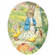 "7"" Peter Rabbit with Ducklings Papier Mache Easter Egg Container ~ Germany"