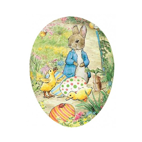 "4-1/2"" Peter Rabbit with Ducklings Papier Mache Easter Egg Container ~ Germany"