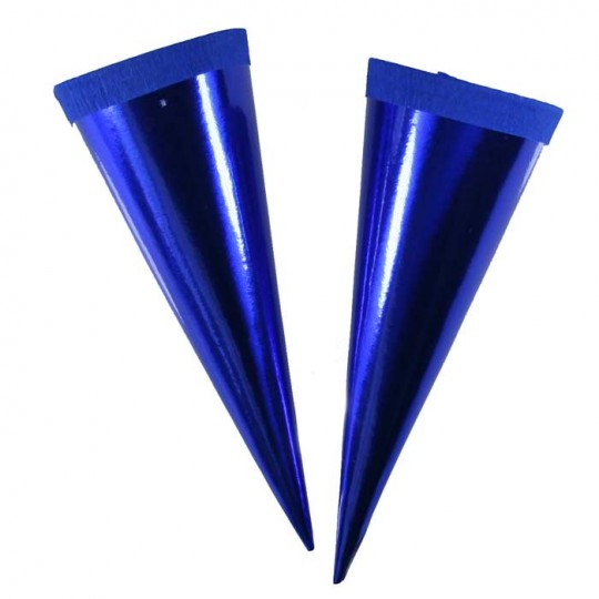 "2 Metallic Paper & Crepe Cones from Germany ~ 5"" Blue"