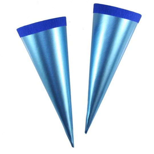 "2 Metallic Paper & Crepe Cones from Germany ~ 5-3/4"" Light Blue"