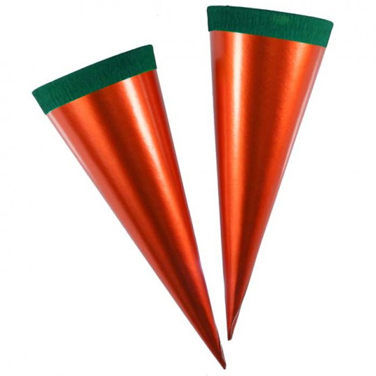 "2 Metallic Paper & Crepe Cones from Germany ~ 5-3/4"" Orange and Green Carrot"