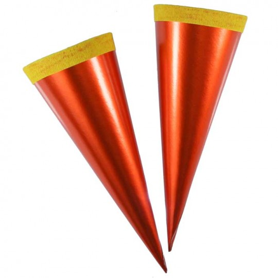 "2 Metallic Paper & Crepe Cones from Germany ~ 5-3/4"" Orange + Yellow"