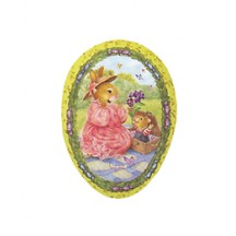 "4-1/2"" Yellow Holly Pond Hill Bunny Picnic Easter Egg Container ~ Germany"