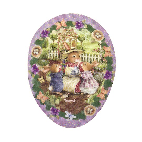 "3-1/2"" Purple Holly Pond Hill Bunny Garden Tea Easter Egg Container ~ Germany"