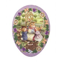 "6"" Purple Holly Pond Hill Bunny Garden Tea Easter Egg Container ~ Germany"