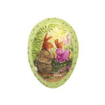 "4-1/2"" Green Holly Pond Hill Bunny Garden Swing Easter Egg Container ~ Germany"