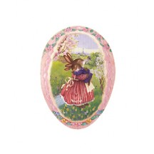 "4-1/2"" Pink Holly Pond Hill Bunny Love Easter Egg Container ~ Germany"
