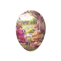 "4-1/2"" Holly Pond Hill Bunny Afternoon Tea Easter Egg Container ~ Germany"