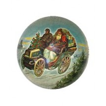 Santa's Auto Papier Mache Ball Box Ornament