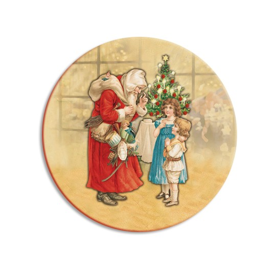 Santa and Children Papier Mache Ball Box Ornament