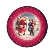 Medium Santa and Children Papier Mache Ball Box Ornament ~ Red