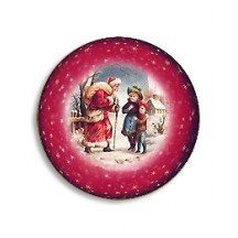 Santa and Children Papier Mache Ball Box Ornament ~ Red